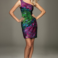 PRE-ORDER**2011 Prom Dresses! Evenings By Allure-Peacock Print One Shoulder Fitted Cocktail Dress- Size 0-18 - Unique Vintage - Bridesmaid & Wedding Dresses