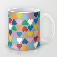 Up and Down Hearts on Grey Mug by Project M