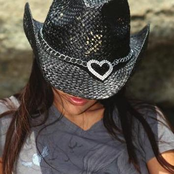 Black Cowboy Hat With Bling Heart- HAT837BK - Tee for the Soul