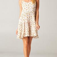 SUNFLOWER OPEN BACK BABYDOLL TIERED DRESS