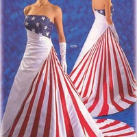 American Flag Wedding Dress 62% off retail