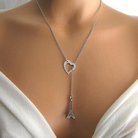 romantic eiffel tower necklace, sassy lariat necklace by KriyaDesign