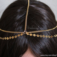 Gold Coin Headchain, Gold chain Headpiece, Head jewelry, Hairchain, Hairchains, Hair accessory accessories, Boho Grecian Goddess Headdress