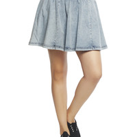 Acid Wash Denim Skater Skirt | Wet Seal