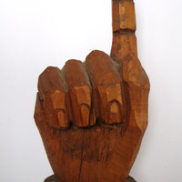 great mid century pointing hand directional trade sign american folk art carving 1950s carved wood fist finger primitive original paint