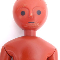Rare vintage Mid Century AMANDA JANE stylised articulated terracotta coloured 'ginger bread' style plastic doll