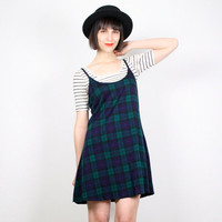 Vintage 90s Dress Grunge Dress Mini Dress Babydoll Dress Tartan Plaid Skater Dress Skater Skirt Jumper Dress Schoolgirl M Medium L Large