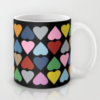 Diamond Hearts on Black Mug by Project M