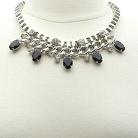Box Chain & Gem Collar Necklace