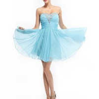 Cocomelody Sweetheart A Line Beaded Short Chiffon Prom Dress PR2990