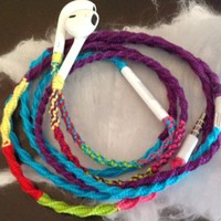 "Earbuds Tangle Free, Hand Wrapped w/mic ""80's Retro Remix Part Deux"" Purple and Turquoise with bright accents of Bright Pink, Neon Green, Bright Red, and Bright Yellow and -Fading- effect at the earbuds Headphones Made for Apple iPhone 5, 5c, 5s, iPad, iPo"