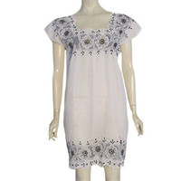 Vintage White Mexican Hippie Boho Dress Black Floral Embroidery Festival