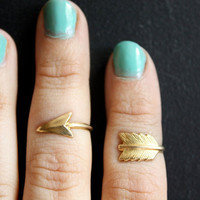 First Knuckle Adjustable Arrow Ring Set by ChristineDomanic