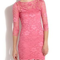 John Zack Pink Lace Slash Neck Dress
