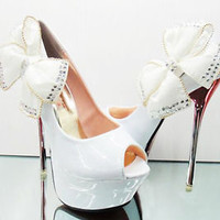 Royal Glitter Bead Bows knot Princess High Heels Wedding shoes Open Toes