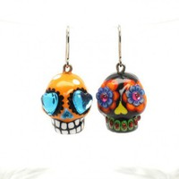 Skull Lover Green Black Polka Dot Handmade Ceramic Earing 00155 | sweetiecaketopper - Accessories on ArtFire