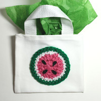 Watermelon Gift Bag, Crochet fruit treat bag, Watermelon goodie bag, novelty reuseable gift bag, candy bag, Summer Party Favor Bag