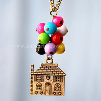 Hot air balloon necklace, flying house necklace, Flying Dreams,Up Movie Necklace, colorful beads