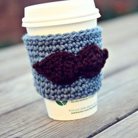 Mustache Coffee Cozy by FiveSisterz on Etsy