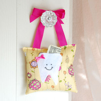 Girls Tooth Fairy Pillow In Pink And Yellow | Luulla
