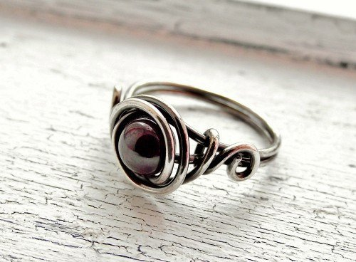 Sterling Silver Ring Chinese Garnet Gemstone Beaded Ring | WestWindCreations - Jewelry on ArtFire