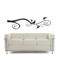 Scrolled Branch an Bird - Large Decal Wall Art