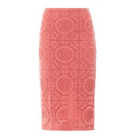 English trellis-lace pencil skirt
