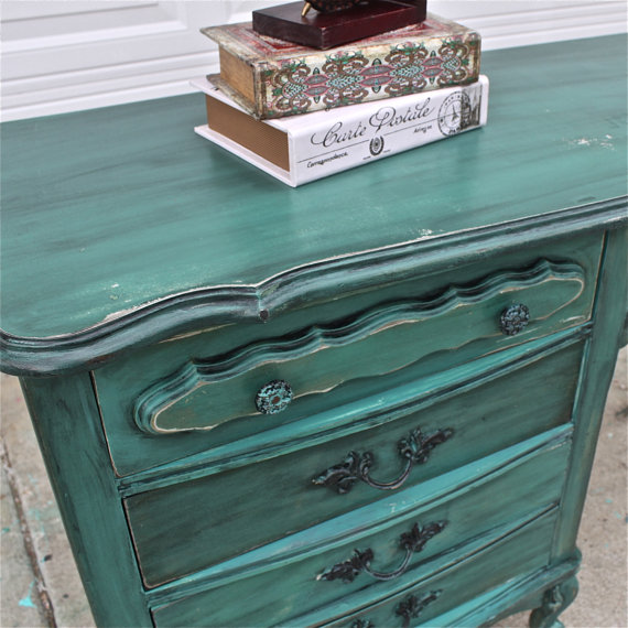 Rustic Bedroom Tv Chest Bedroom Tv Stand Bedroom Tv: Teal Green French Provincial Desk/ From AquaXpressions On Etsy