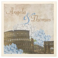 Ancient Rome Blue Hydrangea Wedding Napkins