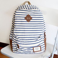 Fresh Striped Leisure Canvas Backpack