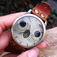 Retro Cute Owl Dial Leather Watch