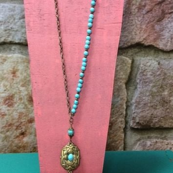 Turquoise & Bronze Medallion Necklace- NEK168TU