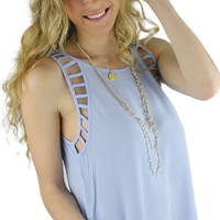 Cut Out Detailing Crop Back Tank Top - Sky Blue