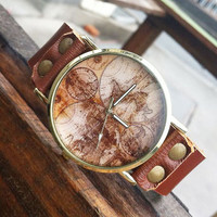 Cute Fashion World Map Leather Watch