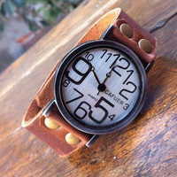 Retro Funny Irregular Digital Leather Watch
