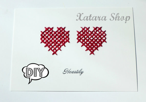 Diy Wall Art Hearts : Diy cross stitch card hearts wall art from xatara on etsy