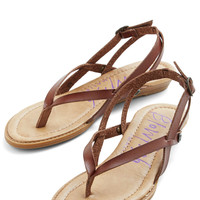 ModCloth Minimal Camp Hardly Wait Sandal in Brown