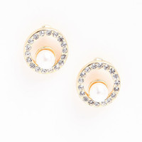 RHINESTONE AND PEARL CIRCLE EARRINGS