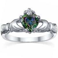Sterling Silver 0.765ct Heart cut Mystic Rainbow Topaz Promise Friendship Engagement Dublin Claddagh Ring, Eris (sizes 4-10.25) 008-3185-A