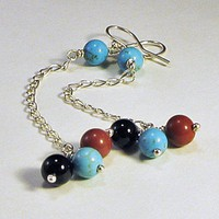Long Duster Earrings Blue Turquoise Red Jasper Black Onyx Sterling Silver | LaraJordanJewelry - Jewelry on ArtFire