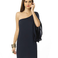 Bat Your Lashes One Shoulder Navy Blue Dress