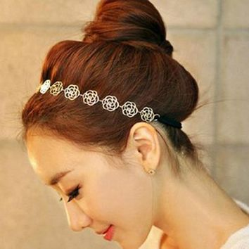 Sannysis 1PC Magic Sweet Lady Hollow Rose Flower Elastic Hair Band Headband For Girls