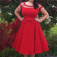 Pinup Long Cap Sleeves A-line With Only a Wink Dress in Ruby