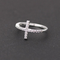 Sideways cross ring with Swarovski | bythecoco
