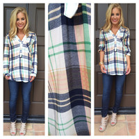 Navy & Cream Plaid Top