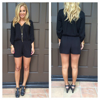 Black 3/4 Sleeve Button Romper