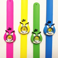 Cute 3D Cartoon Angry Birds Watch Kids Boy Girl Children's Rubber Snap-on Slap Cuff Watch Gifts Idea (Green)