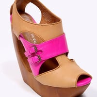 effrey Campbell Beige Neon Buckle Cut-Out Shoes