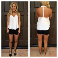 White Flower Strap T-Back Tank