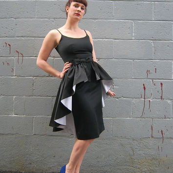 Vintage 1980's does 50's Black wiggle satin Pin up dress with attached peplum